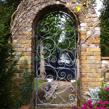 Hand forged garden gate.