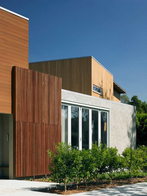 Wood panels houzz for Flat exterior design