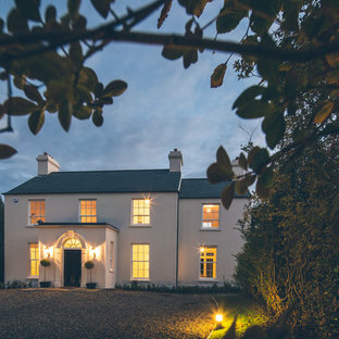 Inspiration for a large and white traditional two floor exterior in Belfast.