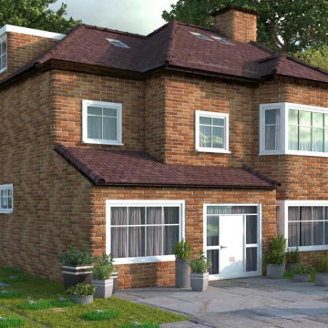 Single storey front extension with new front porch and two storey rear extension