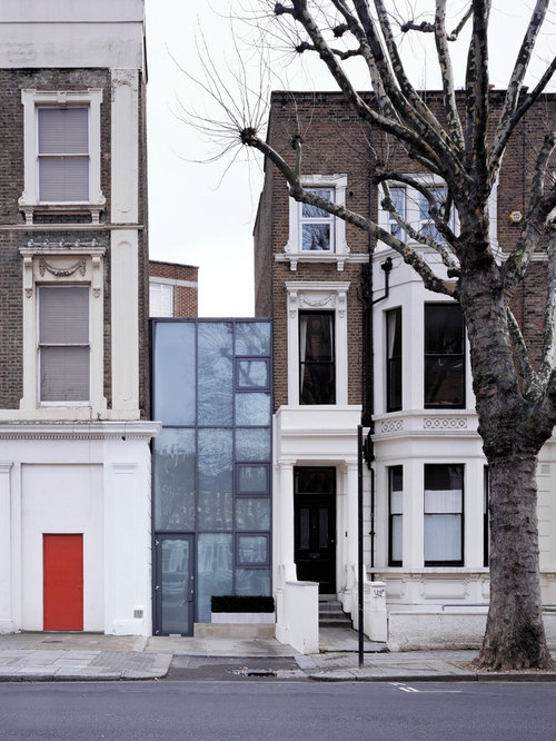 Example of a minimalist flat roof design in LondonNarrow House   Houzz. Narrow Homes Designs. Home Design Ideas