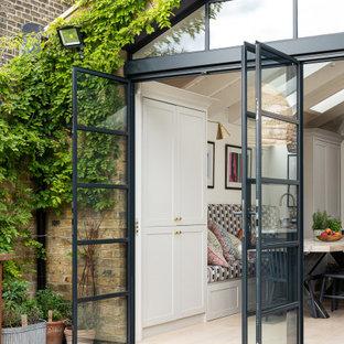 Triple external steel doors with triangular fix