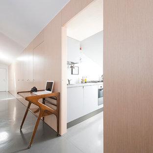 Idee per un grande ingresso o corridoio contemporaneo con pareti bianche e pavimento in cemento