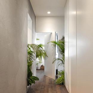 Esempio di un ingresso o corridoio tropicale di medie dimensioni con pareti grigie e pavimento in legno massello medio