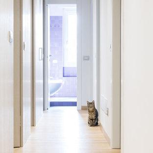 Foto di un ingresso o corridoio minimal di medie dimensioni con pareti bianche e parquet chiaro