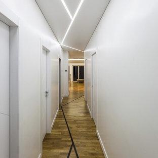 Esempio di un ingresso o corridoio design di medie dimensioni con pareti bianche e pavimento in legno massello medio