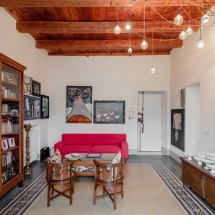 Example of a large eclectic marble floor and multicolored floor entryway design in Other with white walls and a white front door