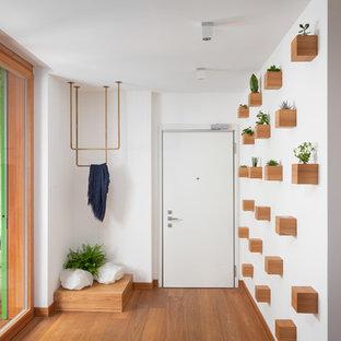 Idee per una porta d'ingresso design con pareti bianche, pavimento in legno massello medio, una porta singola e una porta bianca