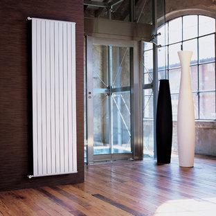 Foto di un ingresso contemporaneo di medie dimensioni con pareti multicolore, pavimento in legno massello medio, una porta in metallo e pavimento multicolore
