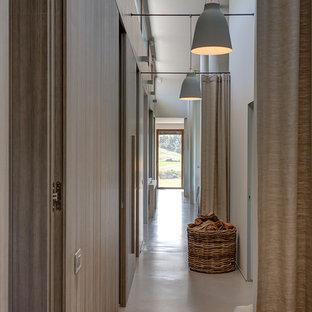 Immagine di un grande ingresso o corridoio country con pareti bianche, pavimento in cemento e pavimento grigio
