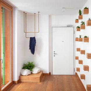 Idee per un corridoio minimal di medie dimensioni con una porta singola, una porta bianca e pavimento marrone