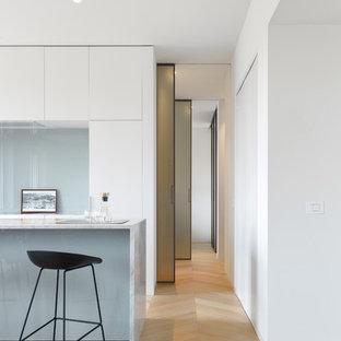 Ispirazione per un grande ingresso o corridoio moderno con pareti bianche, pavimento in legno massello medio e pavimento beige