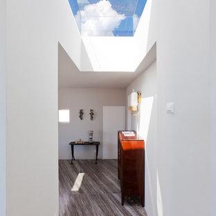 Inspiration för en mellanstor funkis hall, med vita väggar och marmorgolv