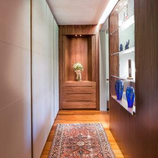 Immagine di un grande ingresso o corridoio contemporaneo con pavimento in legno massello medio