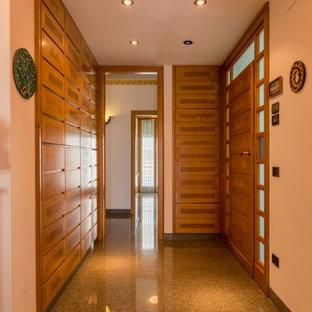 他の地域の中サイズのモダンスタイルのおしゃれな廊下 (白い壁、大理石の床、マルチカラーの床) の写真