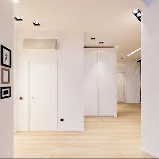 Esempio di un ampio ingresso contemporaneo con pareti bianche, parquet chiaro e una porta bianca