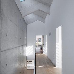 Ispirazione per un grande ingresso o corridoio minimalista con pareti bianche, pavimento in legno massello medio e pavimento marrone
