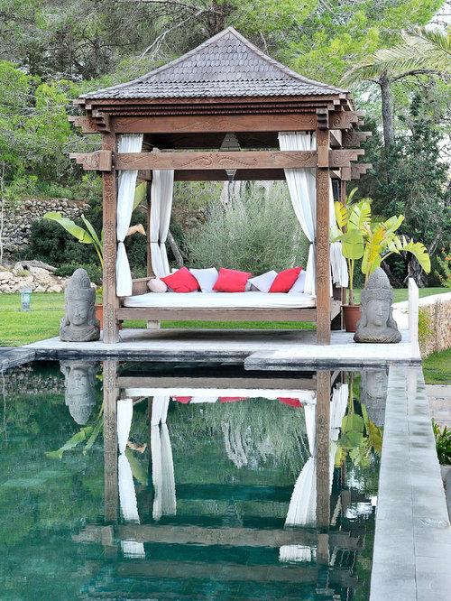 modelo de jardn de estilo zen de tamao medio en patio con exposicin