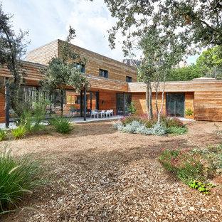 Diseño de jardín contemporáneo, en patio trasero, con adoquines de hormigón