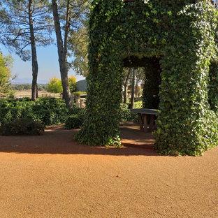 Ejemplo de jardín de estilo de casa de campo, en patio trasero, con gravilla