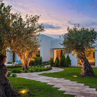 Ejemplo de camino de jardín moderno, grande, en patio trasero, con adoquines de piedra natural