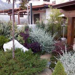 Новый формат декора квартиры: солнечный, осенний огород на участке среднего размера на заднем дворе в скандинавском стиле с подъездной дорогой, освещенностью и покрытием из каменной брусчатки