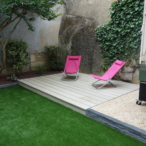 am nagement d 39 un petit jardin avec petite terrasse en bois composite. Black Bedroom Furniture Sets. Home Design Ideas