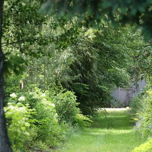 Cette image montre un jardin traditionnel avec une entrée ou une allée de jardin.