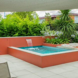 Réalisation d'un petit jardin arrière ethnique l'été avec un bassin et une exposition ensoleillée.