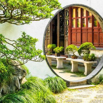 Porte de lune jardin chinois