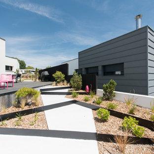 Aménagement d'un grand jardin contemporain avec une entrée ou une allée de jardin.