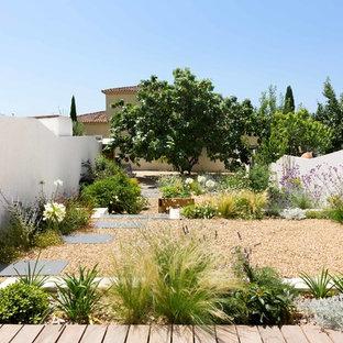 Aménagement d'un jardin à la française arrière contemporain avec une entrée ou une allée de jardin et du gravier.