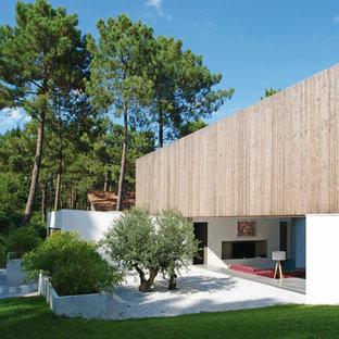 Aménagement d'un grand jardin moderne avec une pente, une colline ou un talus.