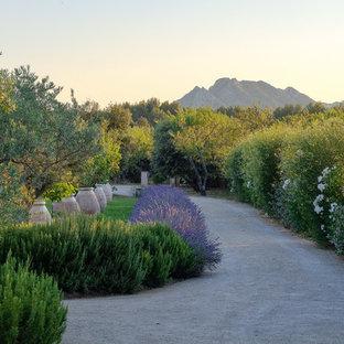 Réalisation d'un jardin à la française arrière méditerranéen avec une entrée ou une allée de jardin et du gravier.
