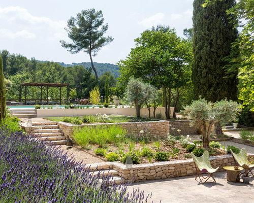 inspiration pour un jardin la franaise arrire mditerranen avec un mur de soutnement et des