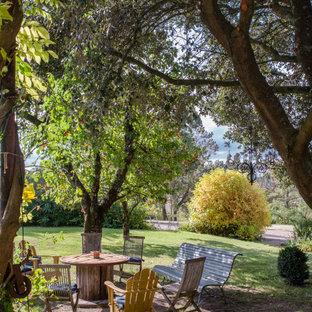Cette image montre un jardin rustique avec une exposition partiellement ombragée.