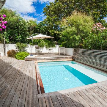 Terrasse mobile ALKIRA piscine ouverte. Réalisation 2017