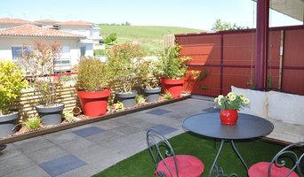 Terrasse rythmée colorée !