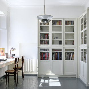 Home Office   Contemporary Built In Desk Painted Wood Floor And Gray Floor Home  Office