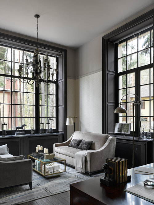 Inspiration For A Timeless Dark Wood Floor And Black Floor Home Office  Library Remodel In Moscow