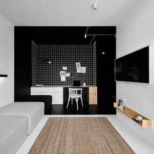 На фото: кабинеты в стиле лофт с белым полом