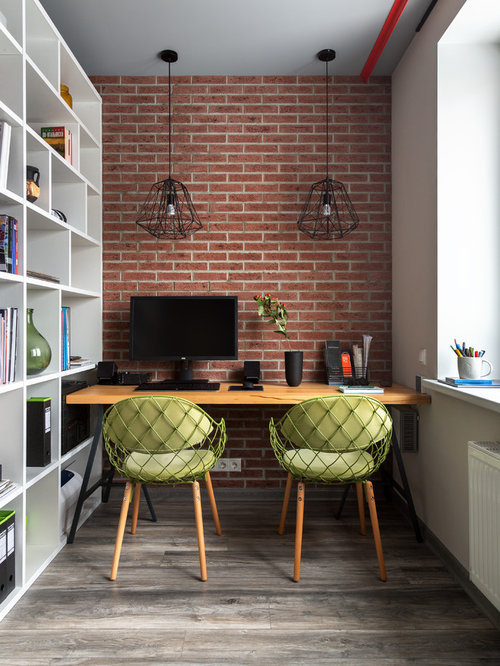 75 Trendy Home Office with Red Walls Design Ideas - Pictures of Home ...