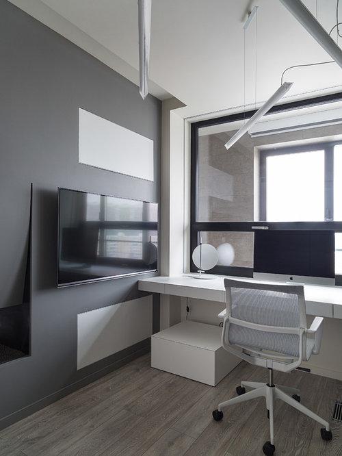 Arbeitszimmer mit tunnelkamin und arbeitsplatz einrichten for Grauer schreibtisch