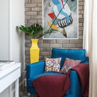 На фото: кабинет среднего размера в современном стиле с серыми стенами и разноцветным полом