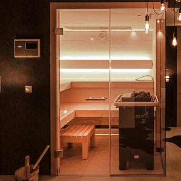 Einfamilienhaus in München - Gestaltung Sauna, Wohnbereich, Flur