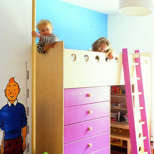Design ideas for a contemporary gender neutral kids' room in Other with multi-coloured walls.