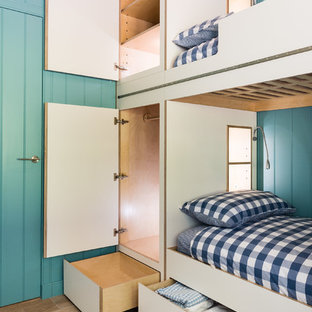 Design ideas for a large scandi gender neutral children's room in Other with light hardwood flooring and beige floors.