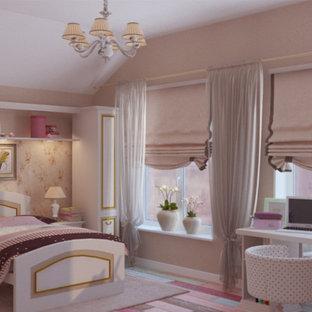Imagen de dormitorio infantil de estilo de casa de campo, de tamaño medio, con paredes rosas, moqueta y suelo rosa