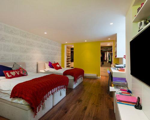 Captivating Contemporary Gender Neutral Dark Wood Floor Kidsu0027 Bedroom Idea In London  With Yellow Walls