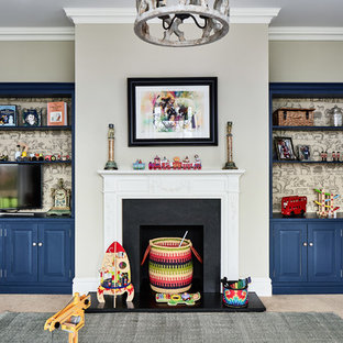 This is an example of a traditional playroom for boys in Cheshire with grey walls, carpet and beige floors.
